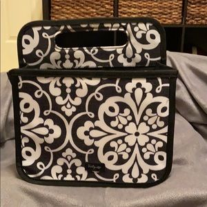 Thirty One Double Duty Tote. Black & white damask